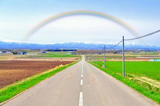 Rainbow and road