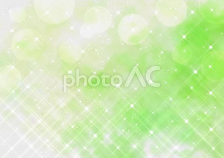 クロスフィルター風の煌めきとボケ 水彩風 背景素材(グリーン)の写真