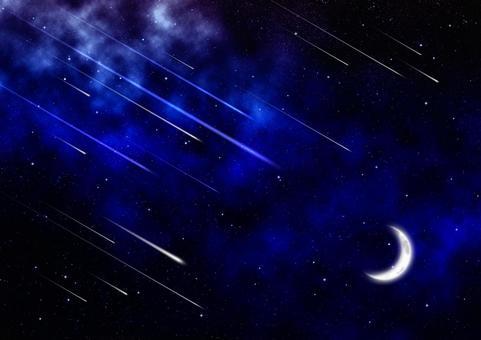 Crescent moon, shooting star and nebula