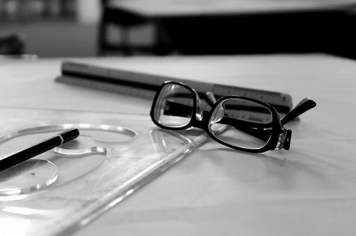 Black and white glasses and stationery