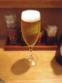 Glass beer at the bar