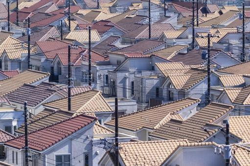 Randomly lined roofs of new residential areas