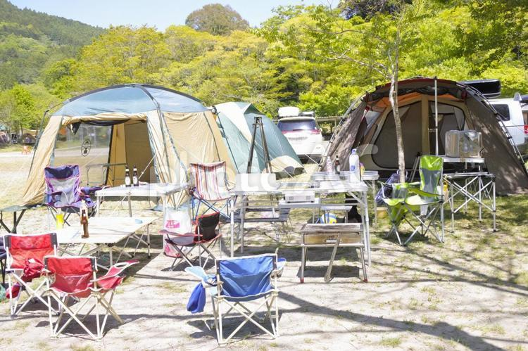 キャンプ 設営完了の写真