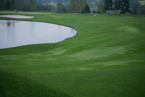 Golf course fairways and water hazards