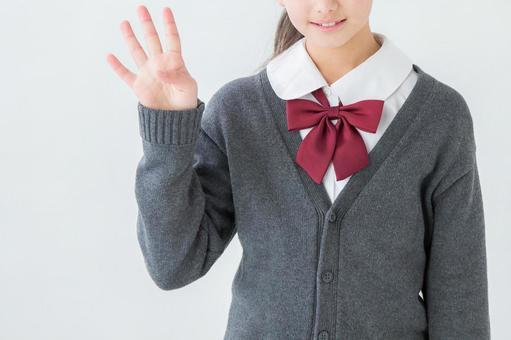 Girl in uniform doing 4 gestures