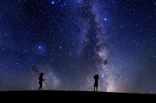 Children taking stars with insect repellent