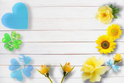 노란 꽃과 하트와 화이트 우드 프레임 아버지의 날 이미지 프레임