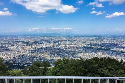 A panoramic view of Sapporo from the observation deck of Mt. Moiwa (Sapporo, Hokkaido)