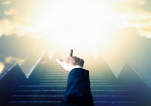 一名商人,指著樓梯和前面