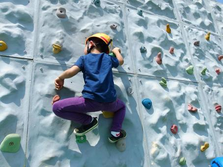 Boy with bouldering