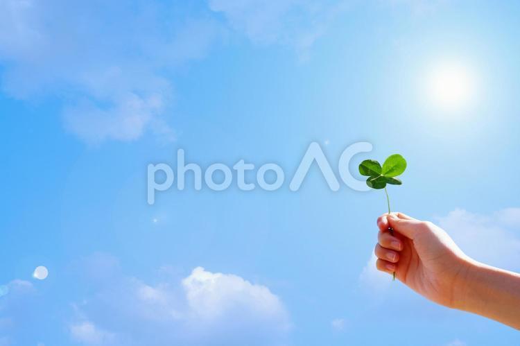 四つ葉のクローバーを持つ手と青空03 幸せのイメージ背景素材の写真