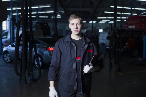 Automobile mechanic with clipboard 1