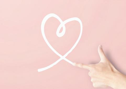 手繪心粉紅色背景