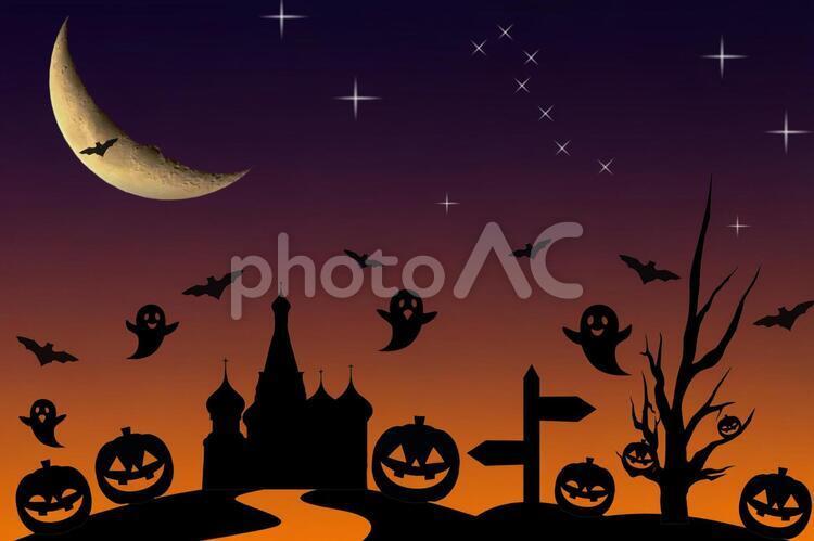 ハロウィン 夜 オバケ かぼちゃ 幽霊 三日月 星の写真