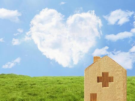 Heart clouds, hospitals and meadows