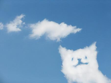 Cat-shaped clouds and blue sky