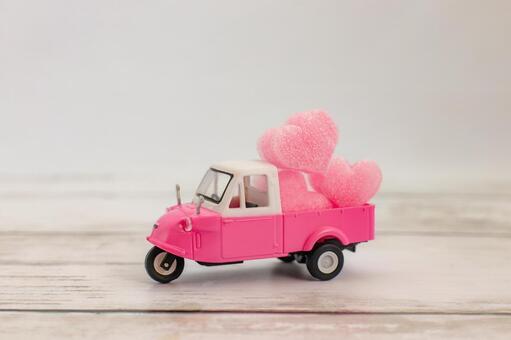 하트 택배 핑크 미니 트럭