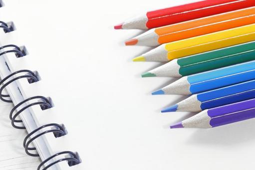 Seven colored pencils Color pencil notes Study image material