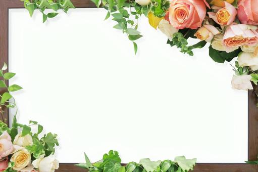 Rose and plant and wood grain frame