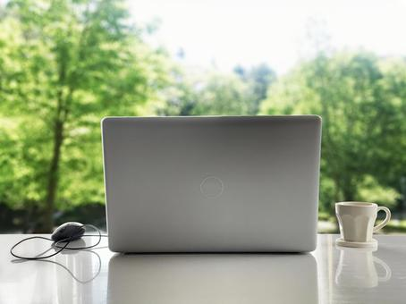 Laptop and green trees background