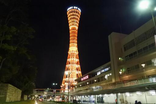 고베 포트 타워의 야경