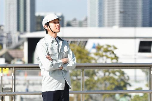 Men in skyscrapers and work clothes