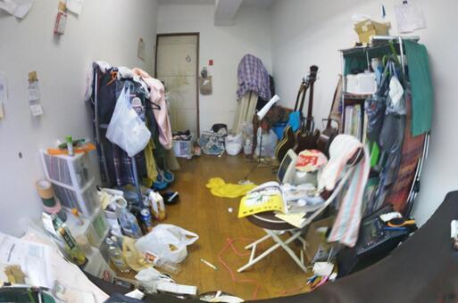 Dirty room messy room fisheye lens side