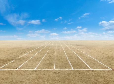 Playground start line and blue sky ground image