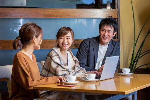 Friends meeting at a restaurant