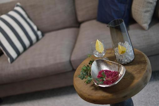 Living to enjoy alcohol on the sofa in the living room