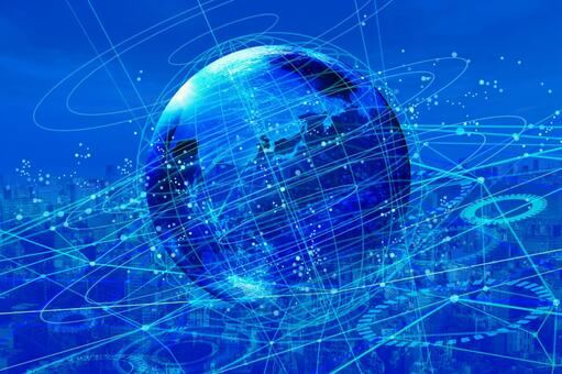Blue network technology of light Earth and cityscape background