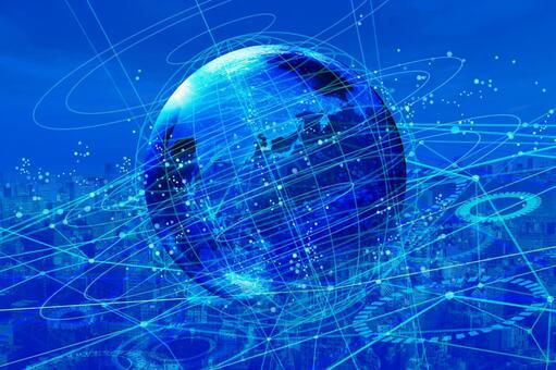 빛 파란 네트워크 기술 지구와 거리 풍경 배경