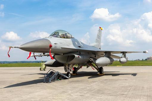 Ground Exhibit US Air Force F-16 Fighting Falcon Fighter (Misawa Base, Aomori)