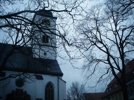 Western-style building (church) with an eerie atmosphere