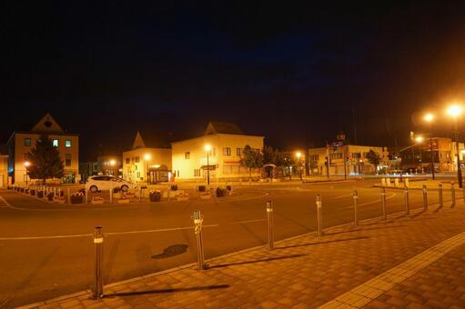 Night view of Biei Station (Biei Town, Hokkaido)