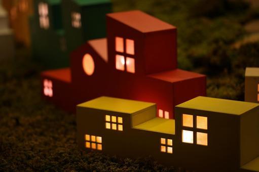 Illumination of the shape of a house