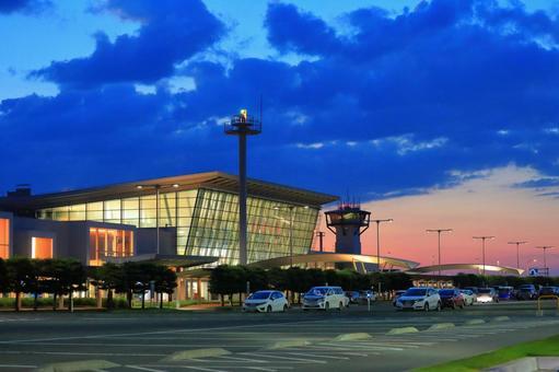 Asahikawa Airport seen from the parking lot at dusk