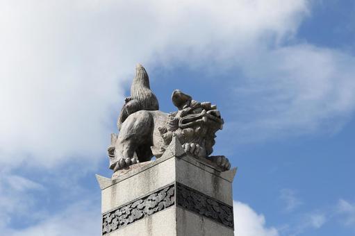 Beast statue in fine weather
