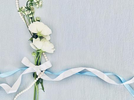 Something blue pearl and ribbon flower background