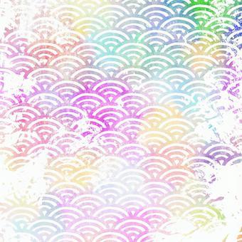 Blurred rainbow blue sea wave pattern