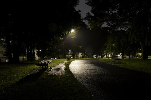 "Park on a rainy night Wet walking path and benches at ""Ogunohara Park"" in Arakawa Ward"