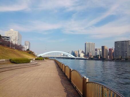도쿄도 츄 오구 측 신천 공원 (스미다 강 테라스)에서 영구 다리와 스카이 트리를 원망