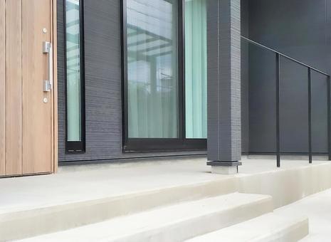 Black exterior porch with terrace