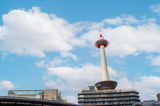 Kyoto Tower and blue sky