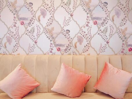 Victorian cute floral wallpaper and sofa