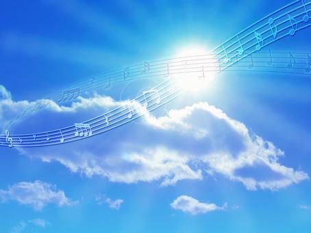 Fresh sky, sun and notes