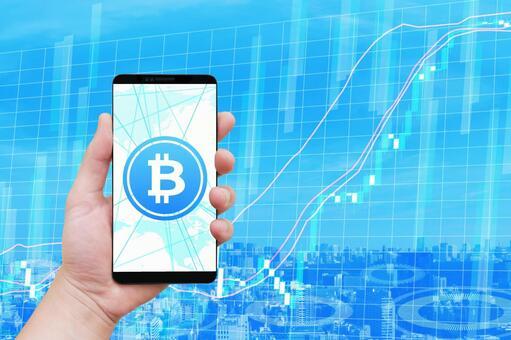 位硬币虚拟货币和智能手机和图表