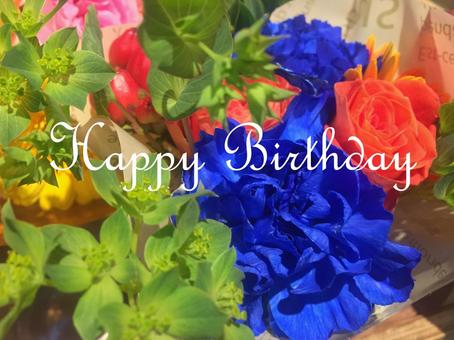 Colorful bouquet birthday card