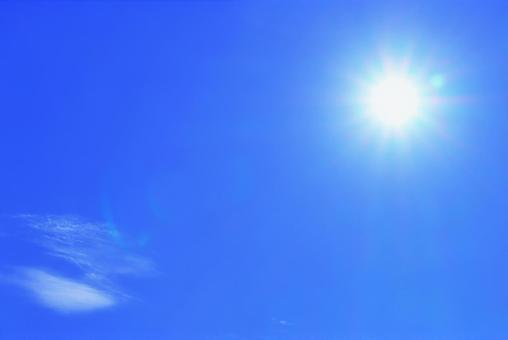 Sky background with the image of summer when the strong sunlight is dazzling UV heat stroke Sunburn Glittering Hot heat Extreme heat Hot shine