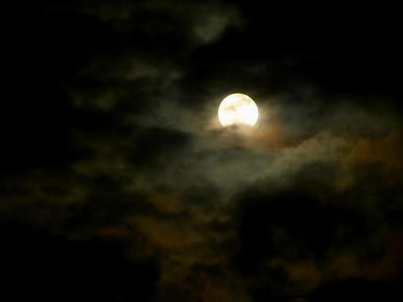 Lunar eclipse between clouds